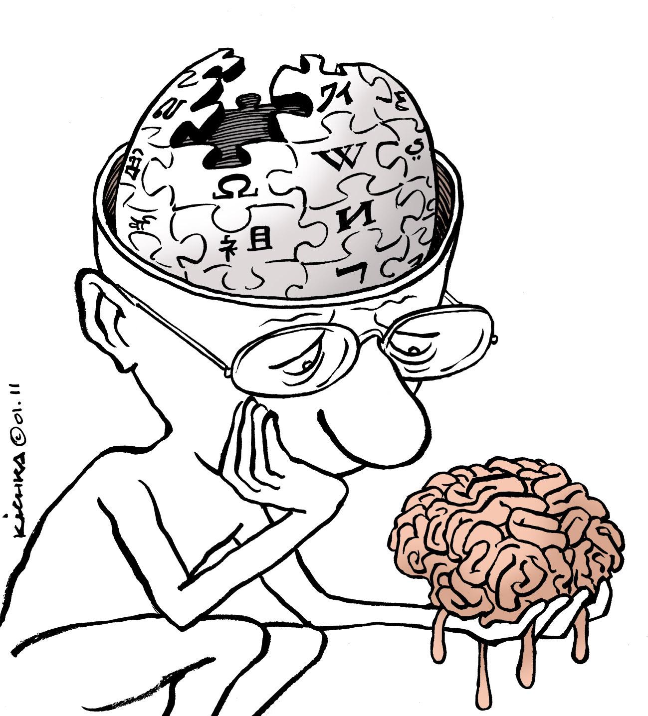 Cartoon of a man holding a brain.