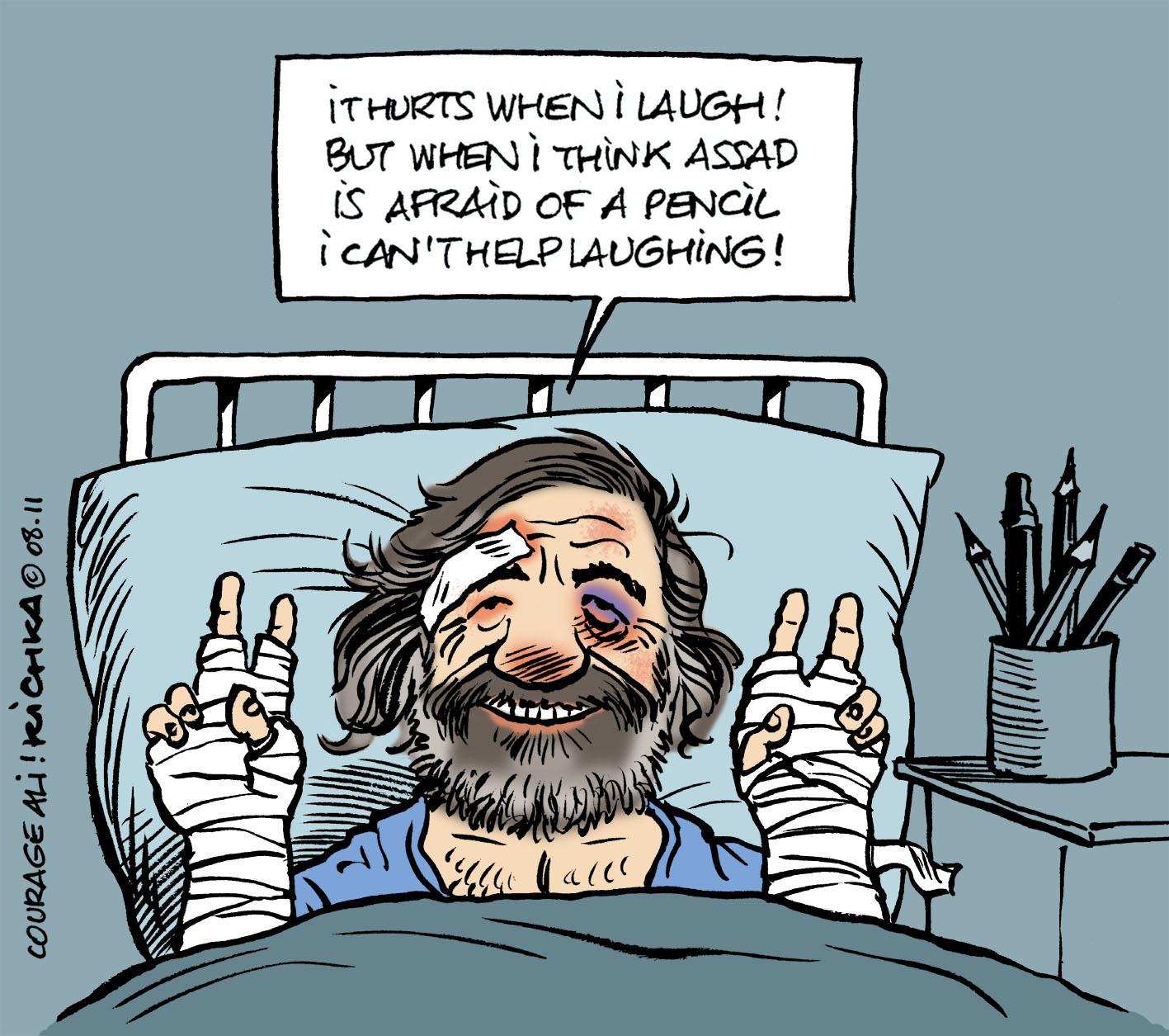Le caricaturiste syrien Ali Farzat battu par les hommes de Bachar el Assad